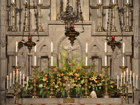 the monstrance amid flowers