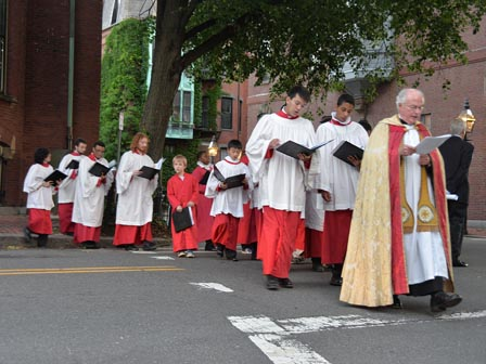 Fr Warren and choristers in procession
