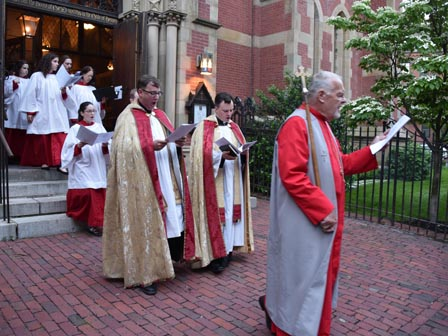 the Verger, Fr Wood, and Fr Dangelo in procession