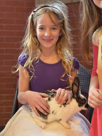 young parishioner with bunny
