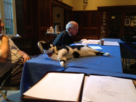 Simon at Vestry meeting