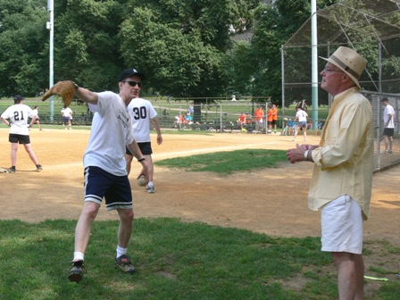 Fr Gray and Fr Warren at softball game
